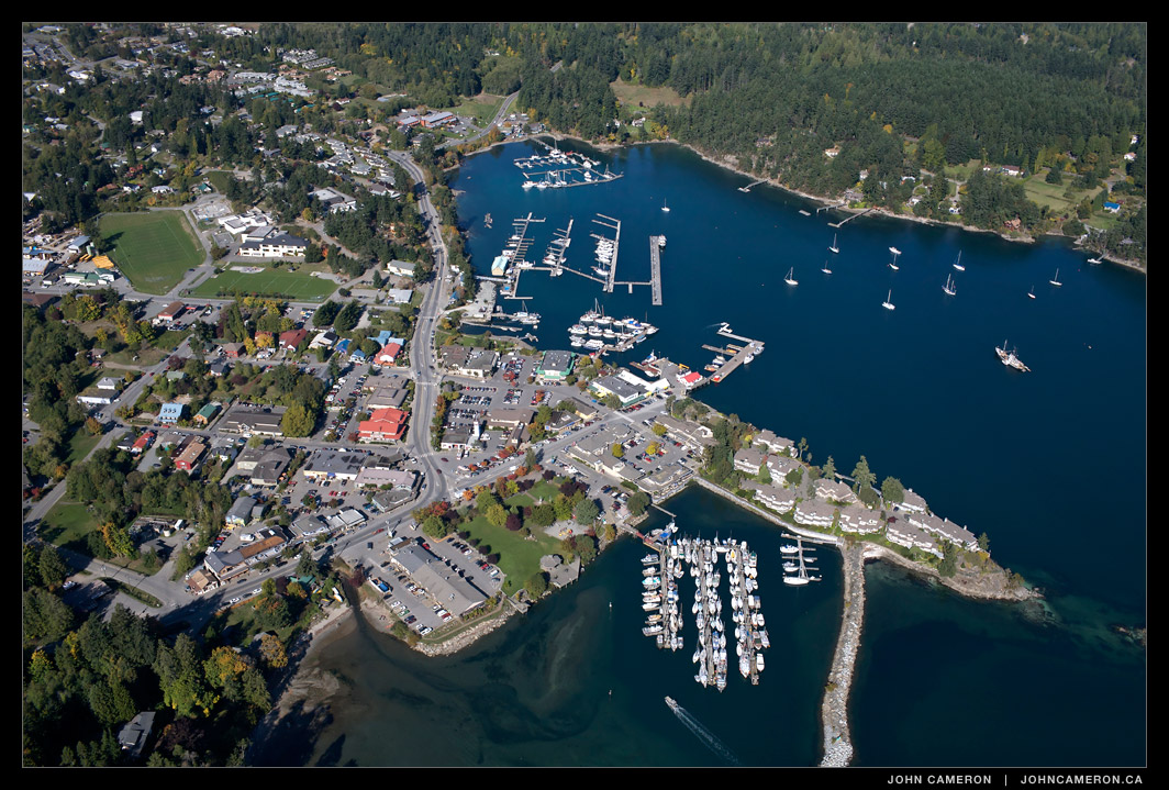 aerial photo of Ganges on Salt Spring