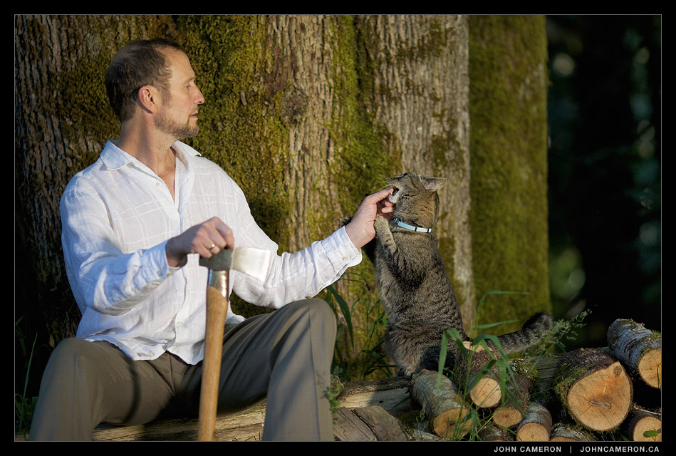 Chris Humphreys and the family cat